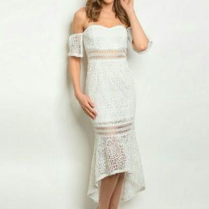 Dresses & Skirts - Crochet Lace High Low Asymmetric Dress
